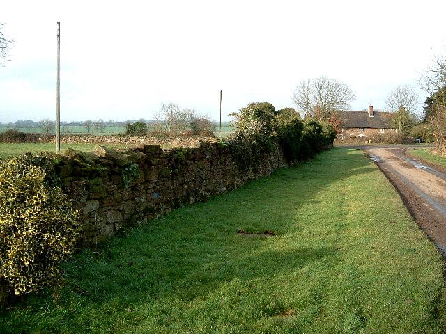 Old wall near site of Baxterley Old Hall