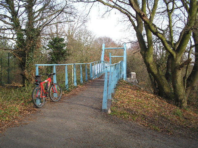 Alban Way. Blue Bridge over Camp Road, St Albans