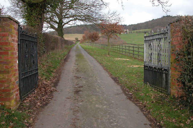 Gate and driveway to Lippets Farm
