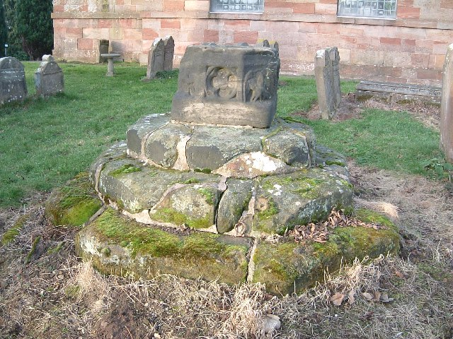 Plinth of old cross, St. Leonard's Churchyard, Over Whitacre