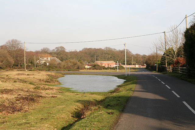 Pond and road junction at East End