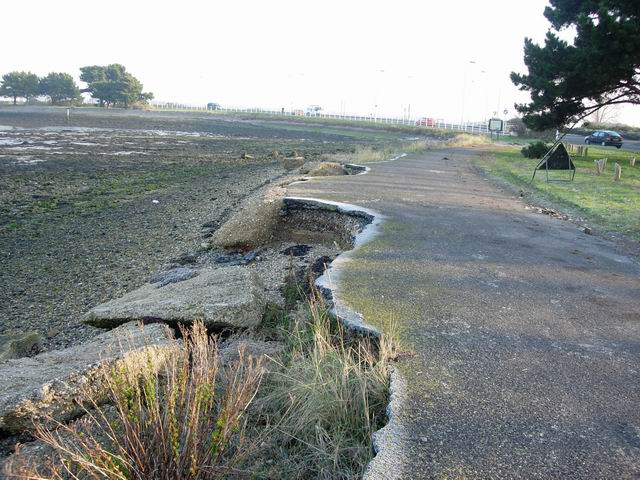 Erosion of old road