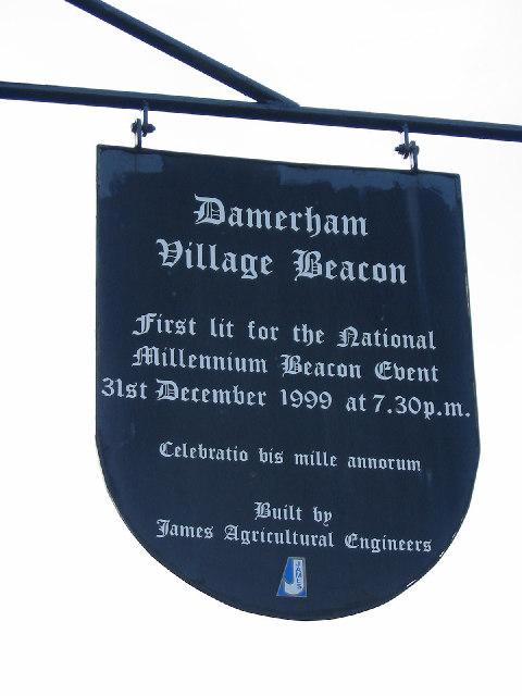 Sign attached to Damerham Village Beacon