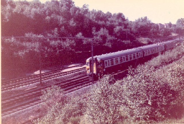 Train travelling from Shenfield to Brentwood in 1967