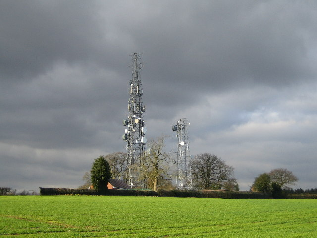 Communication masts by Fillongley Road