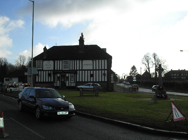 The White Hart Pub and war memorial, South Mimms