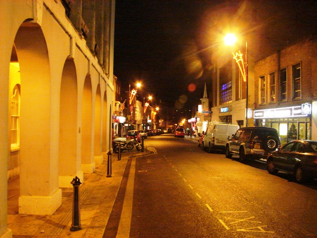 Newport High Street at night