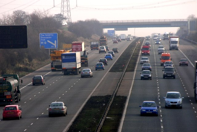 Traffic on M1 viewed from Pleasley Road, Whiston near Rotherham.