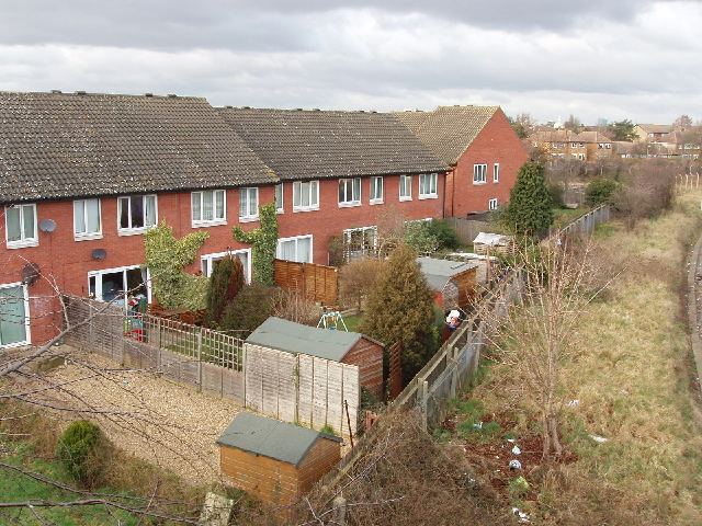 Back gardens of Mallard Close, Whitton