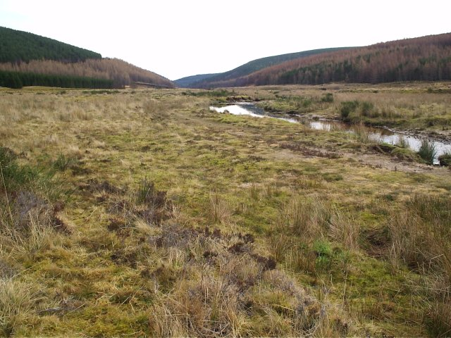 Looking down the Srathrory Burn