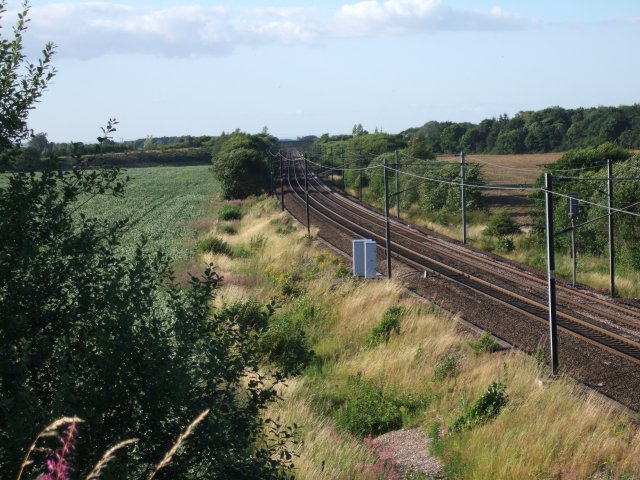 East Coast Main Line near Bishop Wood