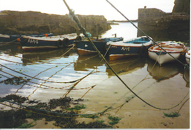 Fishing boats in Auchmithie Harbour