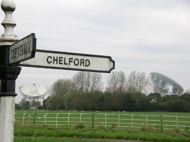 Local Roadsign with Jodrell Bank backdrop
