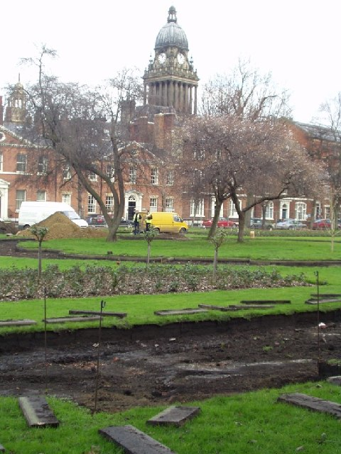 Relaying the paths in Park Square, Leeds