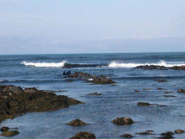 Breaking waves near to Putechan Lodge, Kintyre.