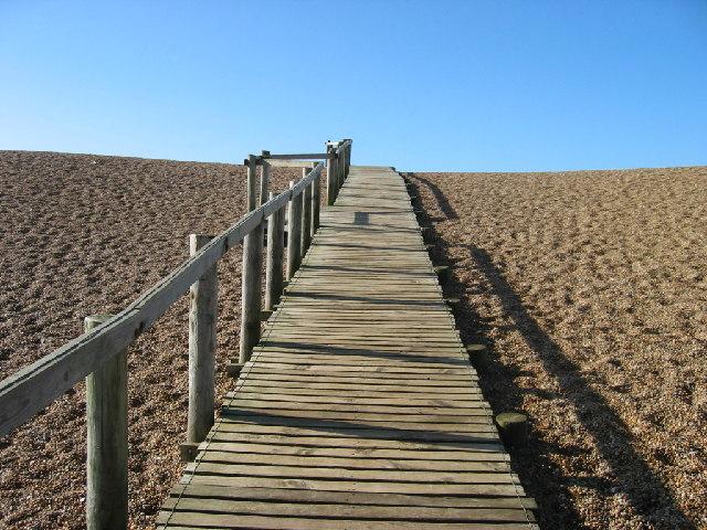 Walkway onto Chesil Beach