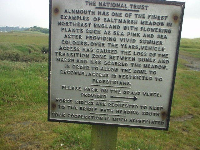 National Trust notice, at Saltmarsh neat Alnmouth