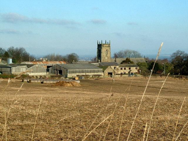Across farmland to Church Farm,  Woolley
