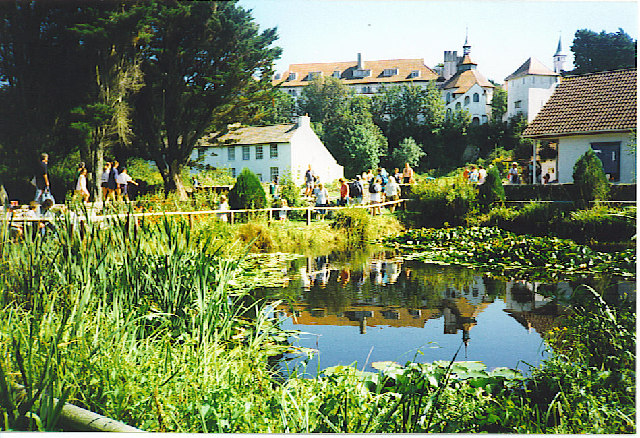 Caldey Island Monastery Reflected in the Pond.
