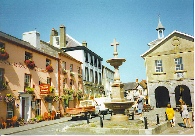 Llandovery - Drovers, Fountain & Market Hall.