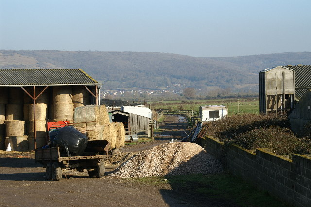 Track through farm with the Mendips in the background