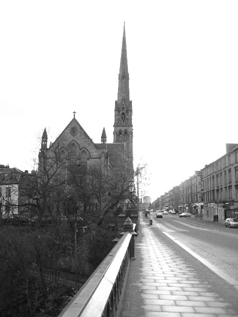 View east along Great Western Road from Kelvin Bridge toward Lansdowne Church