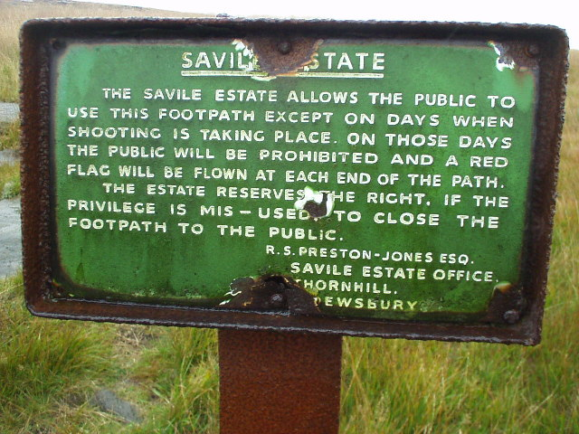Savile Estate permissive path notice