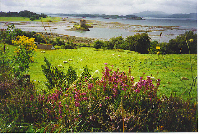 Castle Stalker and the Mouth of Loch Laich.