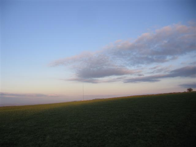 Across the farmland to Caldbeck transmitter