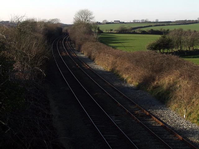 Railway Line near Llanddaniel Fab