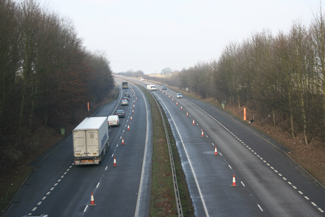 Putting out the cones on the A1