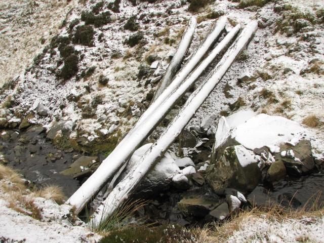 Poles across a burn