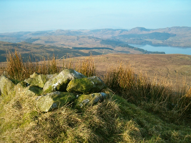 Cairn on Sidh Mhor, looking west to Loch Awe and Ford