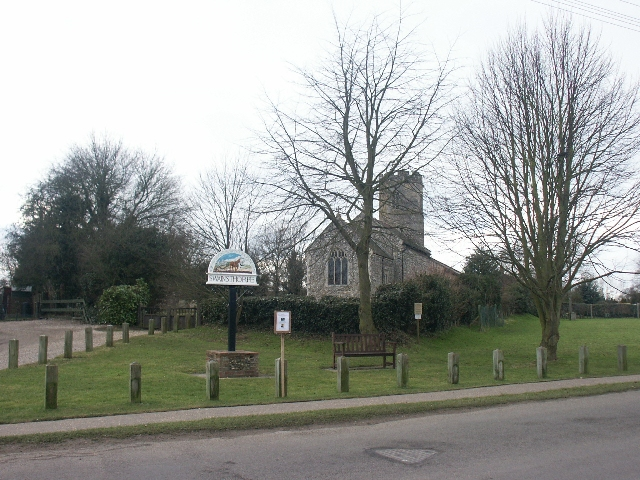 Village green, church and sign, Swainsthorpe