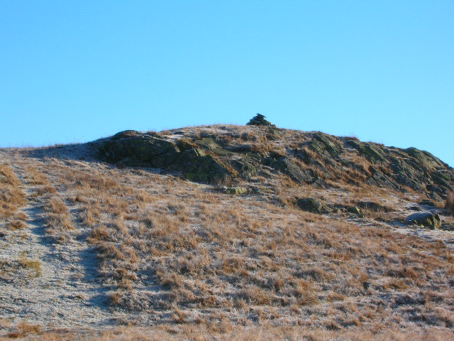 The rocky summit of Crag Hill (1317') with its small cairn