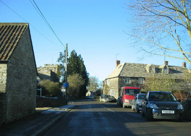Oaksey with church on left and school beyond