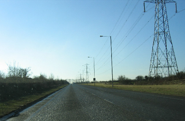 Chippenham Bypass with pylons