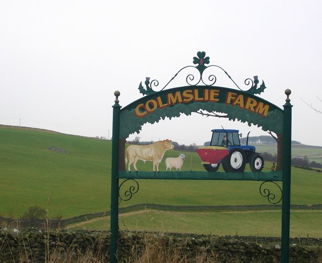 Farm sign near Langshaw, Roxburghshire