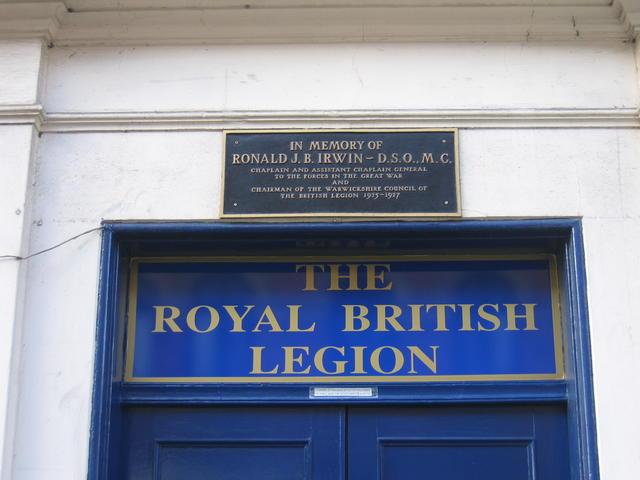 Plaque at the Royal British Legion