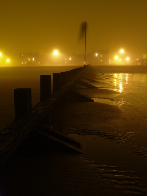 Down the Groyne, into the Freezing Fog
