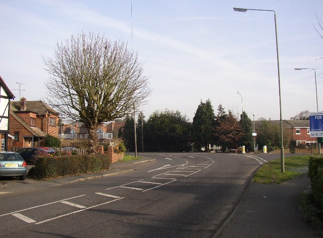 Road junction, Ash Street / Grange Road, Ash, Surrey