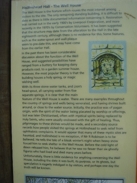 Information notice about the well house at Hollinshead Hall ruins