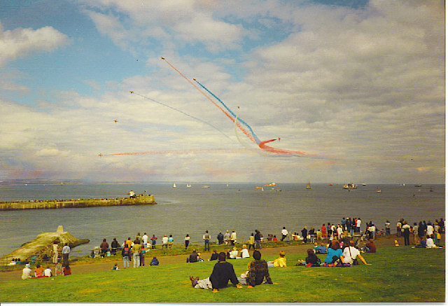 The Red Arrows above Aberdeen Harbour Mouth.