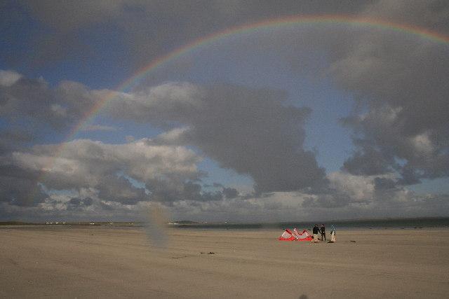 A rainbow appears whilst on Gott Bay's Beach
