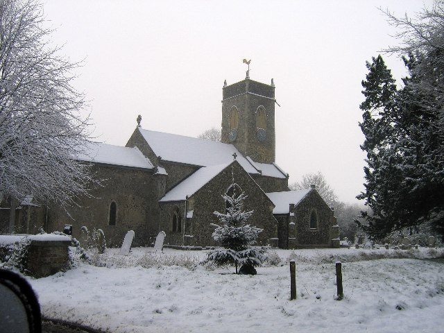 A snowy St. Peter's Church, Bramerton