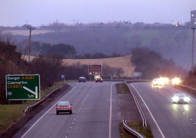 A55 near the Caernarfon turnoff