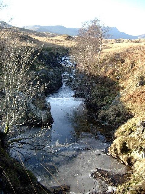 Allt an Dubh Choirein gully with ice