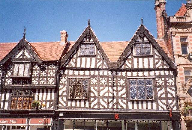 Upper storeys of Owen's Mansion, High Street, Shrewsbury