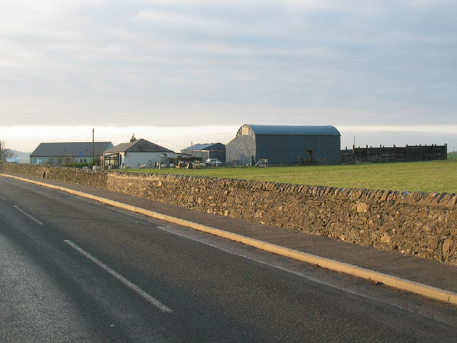 Farm buildings from the B842 near Stewarton.