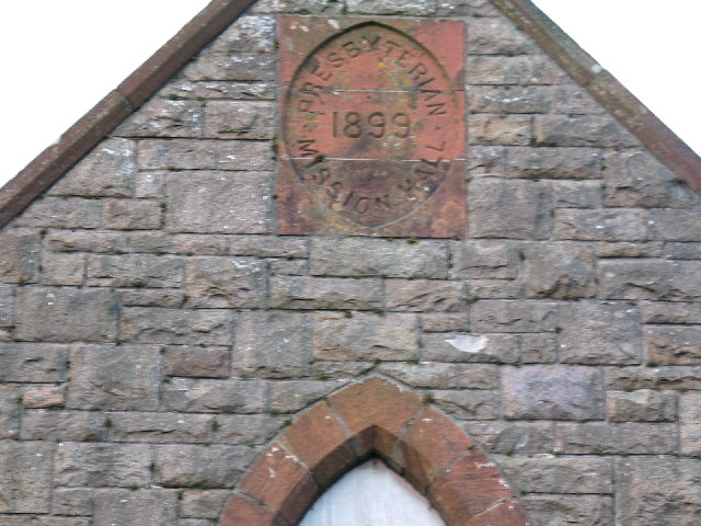 Naming and date above old Mission Hall Drumlemble.